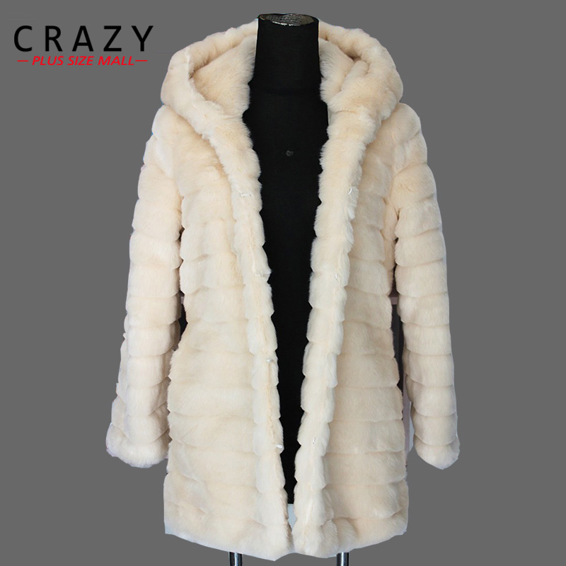 F6009 2015 Women Plus Size 3XL 4XL 5XL Slim Middle-long Artificial White Rabbit Fur Coats Ladies Black Faux Fur Coat With Hood