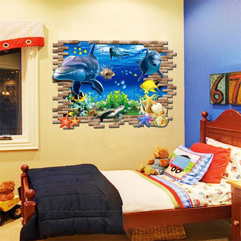 Brand New 2017 Sea Whale Fish 3d Wall Stickers Kids Room Decoration Diy Pvc Wall Sticker Wallpaper Decals Bathroom Decoration