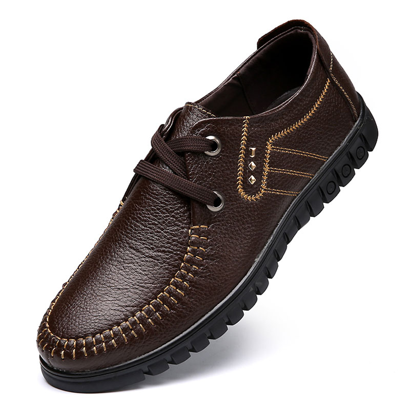 New Design Men Leather Shoes Cow Leather Men Oxfords Black Brown Casual Zapatos Hombres Lace up