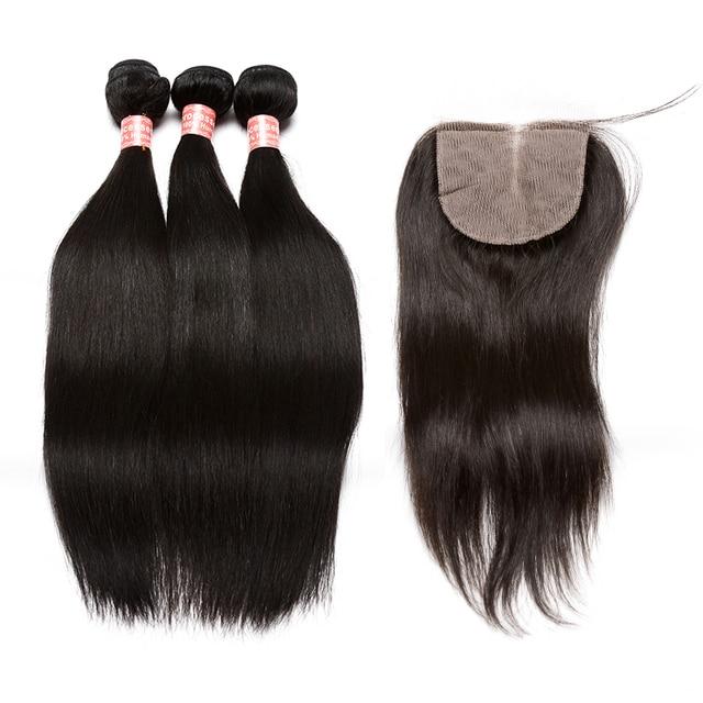 Silk Base Closure With Bundles Straight Brazilian Hair Weave Bundles