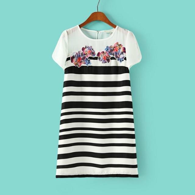Summer New European Stand Slim Temperament Print Short Sleeve Striped Dress Women, Thin Youth Dresses Women