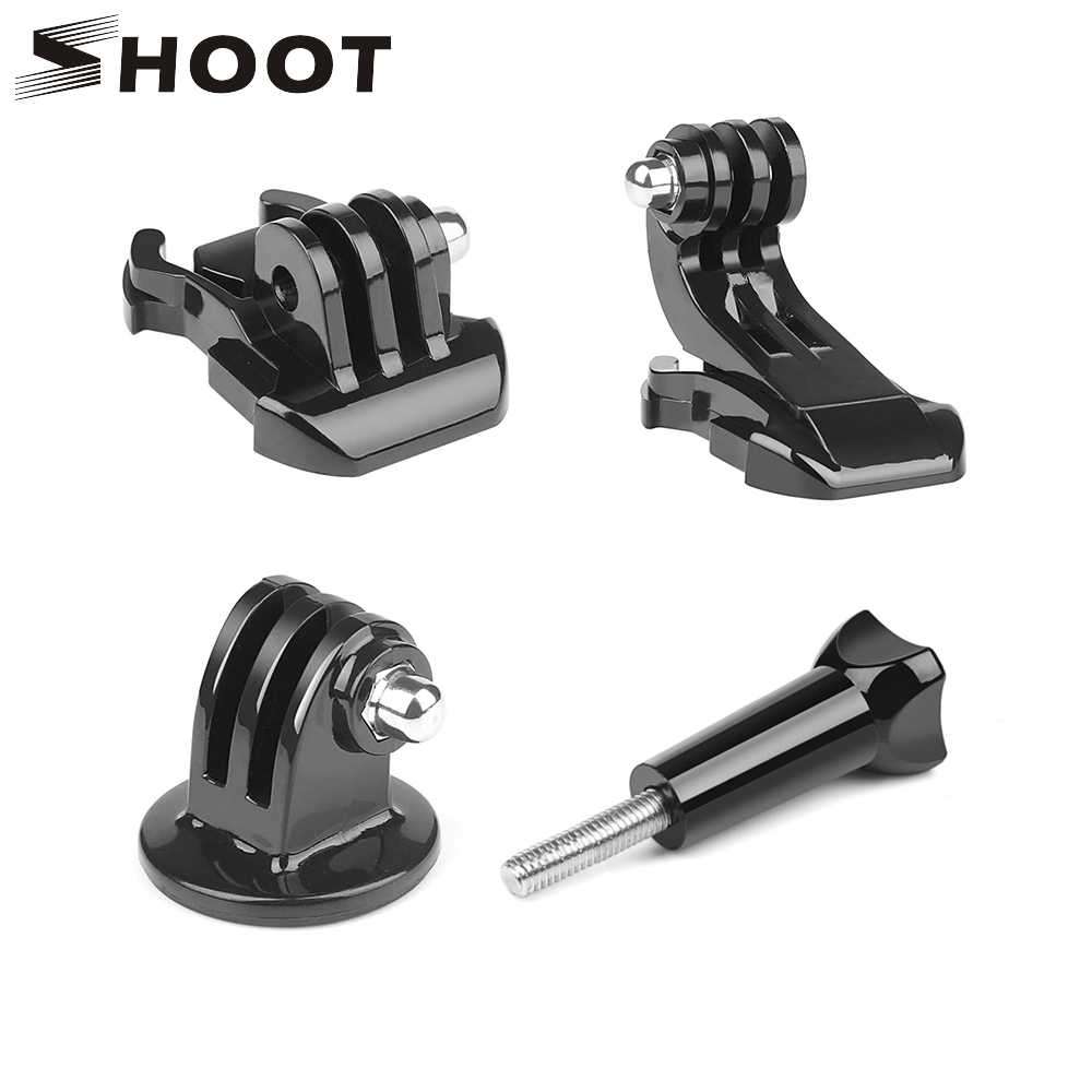 SHOOT 4 in 1 Basic Action Camera Accessory Set Quick Release Buckle Tripod Mount for GoPro Hero 7 8 5 Go Pro SJCAM Yi 4K Eken H9-in Sports Camcorder Cases from Consumer Electronics