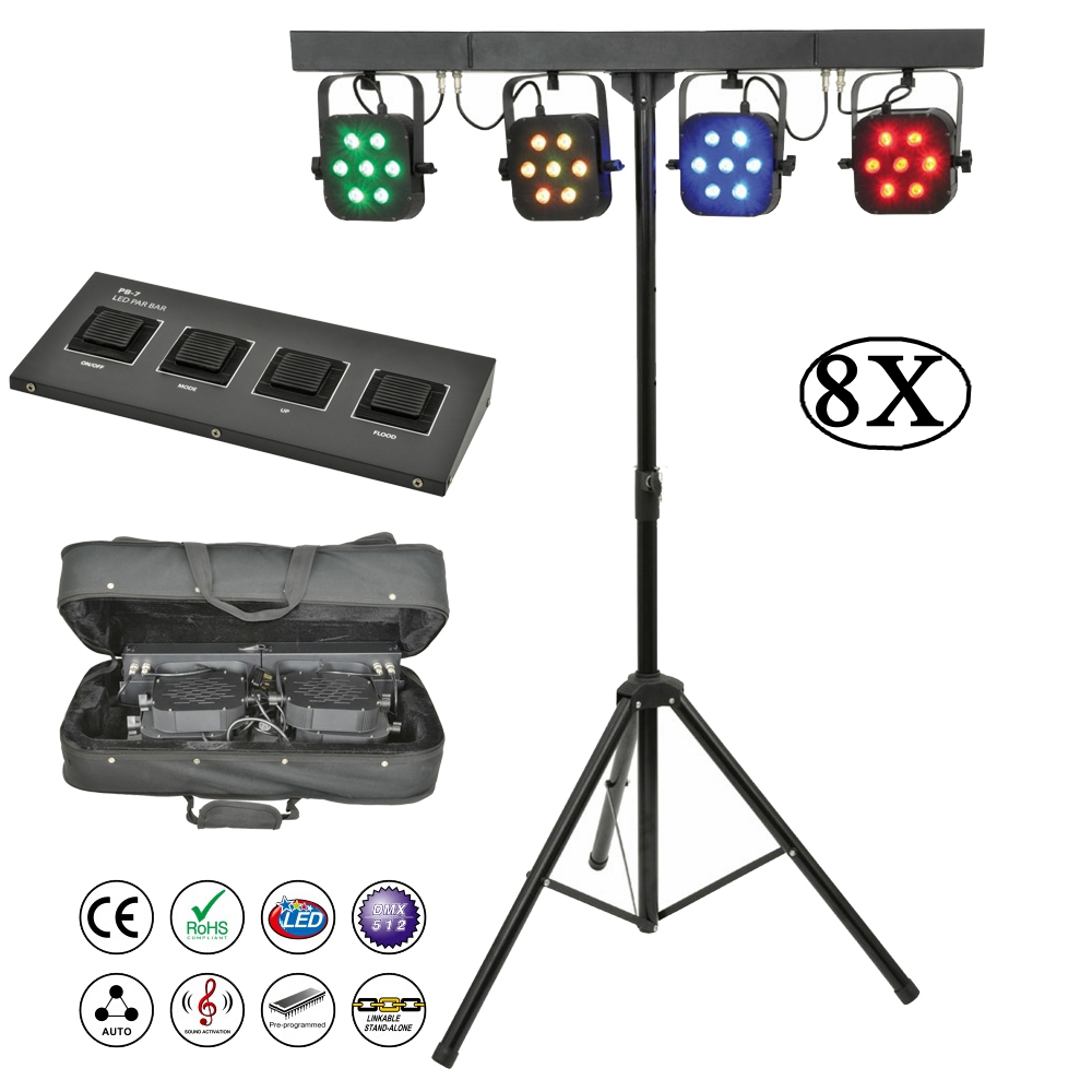 8Pcs/Lot Flat Par Kits High Power 7x10W RGBW 4IN1 LED Stage Lights With Light Stand Bag Package Set DJ Disco Lighting Equipments