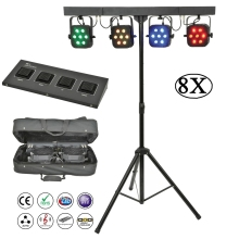 8Pcs/Lot Flat Par Kits High Power 7x10W RGBW 4IN1 LED Stage Lights With Light Stand Bag Package Set DJ Disco Lighting Equipments 8pcs free shipping flat led par 12x3w rgbw disco party lights laser dmx stage light dj effect controller dj equipments projector