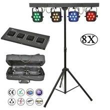 8Pcs/Lot Flat Par Kits High Power 7x10W RGBW 4IN1 LED Stage Lights With Light Stand Bag Package Set DJ Disco Lighting Equipments все цены