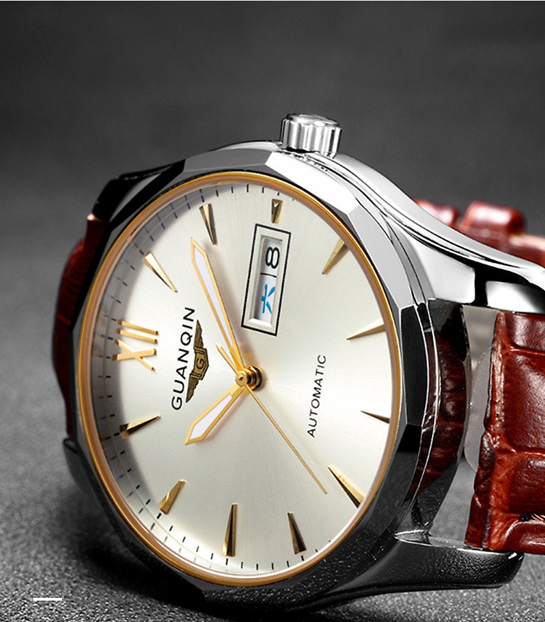 GUANQIN Luminous Men Watch Automatic Mechanical Tungsten Steel Watches Date Calendar Japanese Movement Watch with Leather Strap (18)