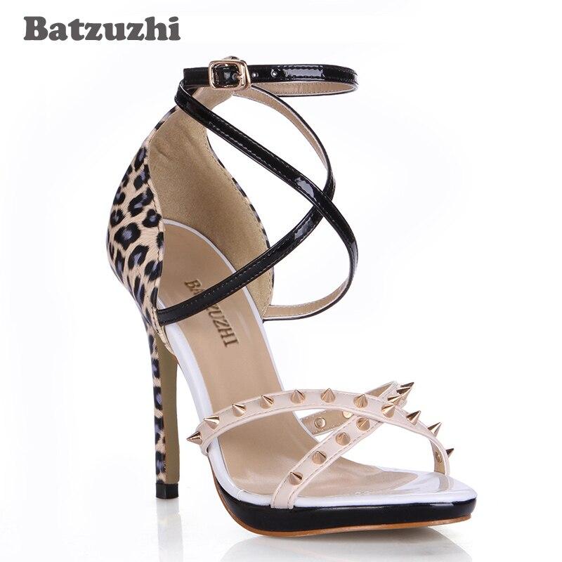 Talons Sexy 12 Rivets Parti En Noir Sandale Batzuzhi Lepord Chaussures Picture Cuir Cm Femmes Mince Sangles As Hauts Super Star Sandales 8qqOZ14Fw