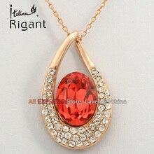 A1-P338 Italina Rigant Fashion Rhinestone Simulated Gemstone Necklace Pendant 18KGP Crystal Jewelry