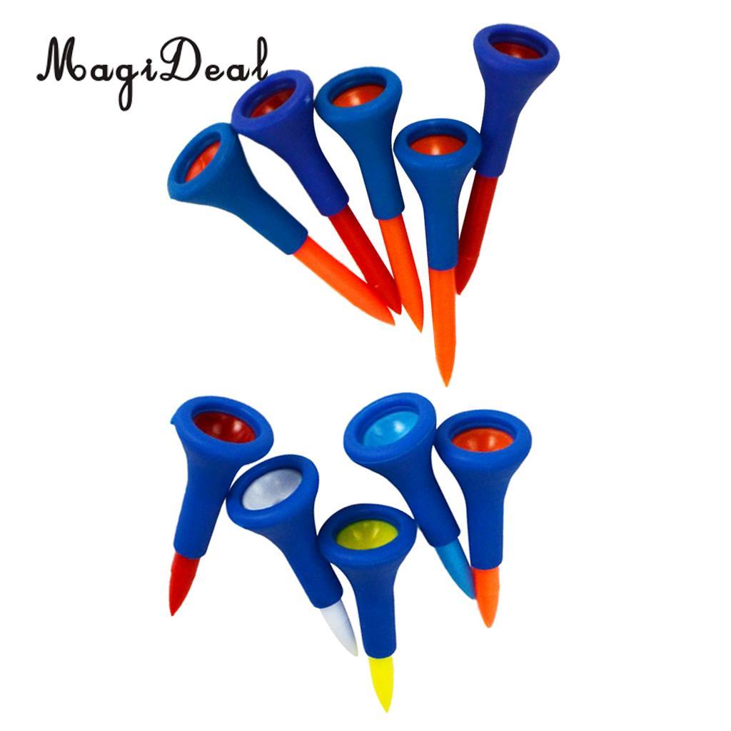 MagiDeal 10 Pieces Durable Soft Rubber Cushion Top Golf Tees Random Color 4.2 cm + 5.4 cm
