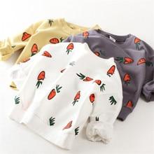 Autumn Kids Shirt Cotton Children T-Shirt  Carrot Pattern Clothing Long sleeved Fashion Winter Warm Baby Sweaters For girl Boy
