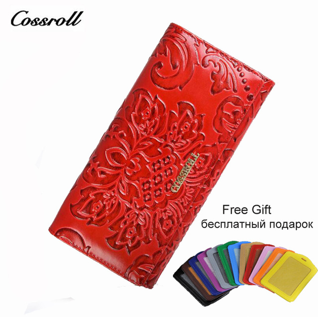 25e4100cbb COSSROLL Flower Embossing Female Wallet Hasp Women's Purses Genuine Leather  Wallets Money Clips Woman Cards Purse monedero mujer