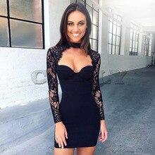 CUERLY 2019 Elegant Black Lace Dresses Women Sexy Evening Part Night Club Sleeve Dress Halter Bodycon Pencil Vestidos