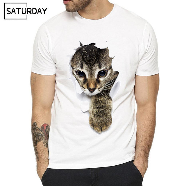 48de97c09 Men's 3D Cute Cat Design Harajuku T-shirts Unisex Animal Print Hipster Tee  Shirt Women Streewear 3D Funny Graphic Tees