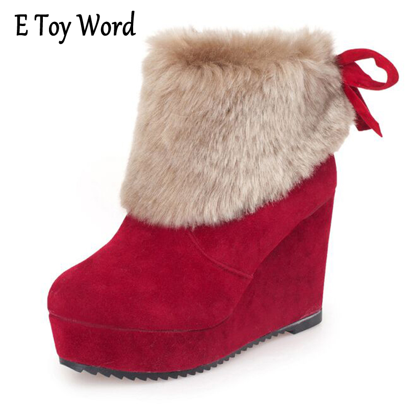 E TOY WORD New Arrival Women Snow Boots Wedges Heels Winter Women Shoes Round Toe Platform Shoes Woman Boots Flock Botas Mujer segal business writing using word processing ibm wordstar edition pr only