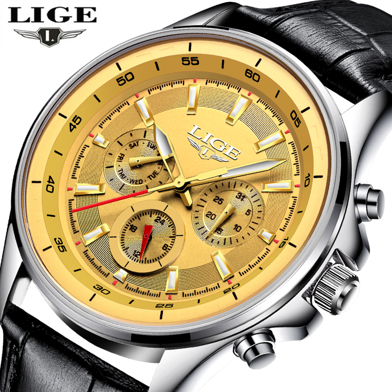 LIGE Mens Watches Top Brand Luxury Sport Military Quartz Watch Men 3ATM Waterproof Fashion Leather Clock Man relogio masculino lige new men watch top brand luxury men s sport quartz watches man fashion multifunction date waterproof clock relogio masculino