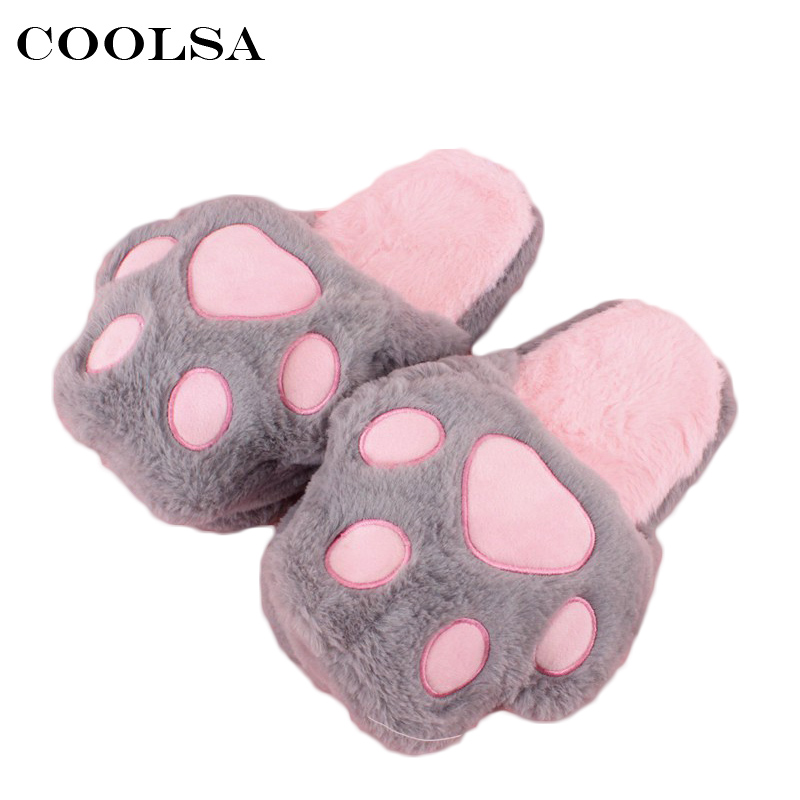 Coolsa New Women Bear's Paw Slippers Cute Funny Animal Paw Plush Flip Flop Cartoon Home Cotton Slippers Ladies Indoor Warm Shoes qweek women home animal slippers fur indoor rabbit slippers warm ladies cute funny adult slippers female slide house shoes