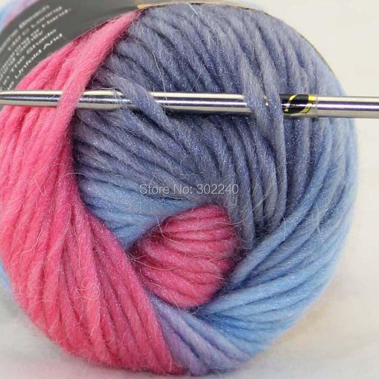 Spousta 1 přadének x 50g Robustní ruční hrubé pletení skóre vlněná příze světle modrá žlutá růžová 826