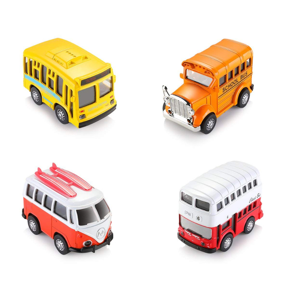 1 38 4Pcs Pull Back Cars Vintage Toy Vehicle Mini Bus with Openable Door Car Light