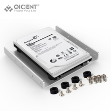 "QICENT Aluminum 2.5"" to 3.5"" Hard Disk Drive Mounting Bracket Kit HDD SSD SATA Bay Converter (3.5 to 1×2.5 Black)"