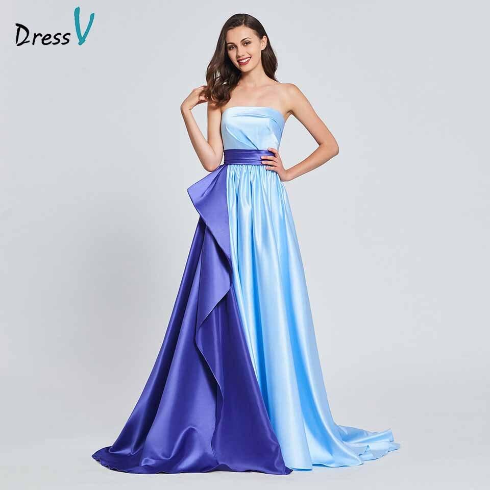 Dressv Party-Gown Strapless Evening Elegant Floor-Length A-Line Court-Train Customize