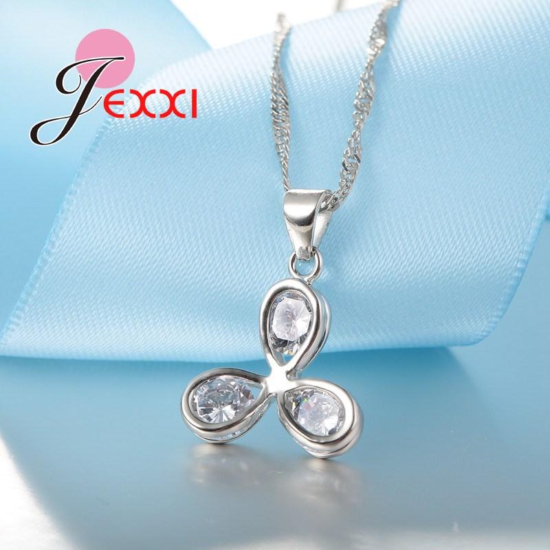 Persönlichkeit Design 925 Sterling Silber Drei Blätter Anhänger Halskette Ohrringe für Frauen Brincos Bijoux Schmuck Sets