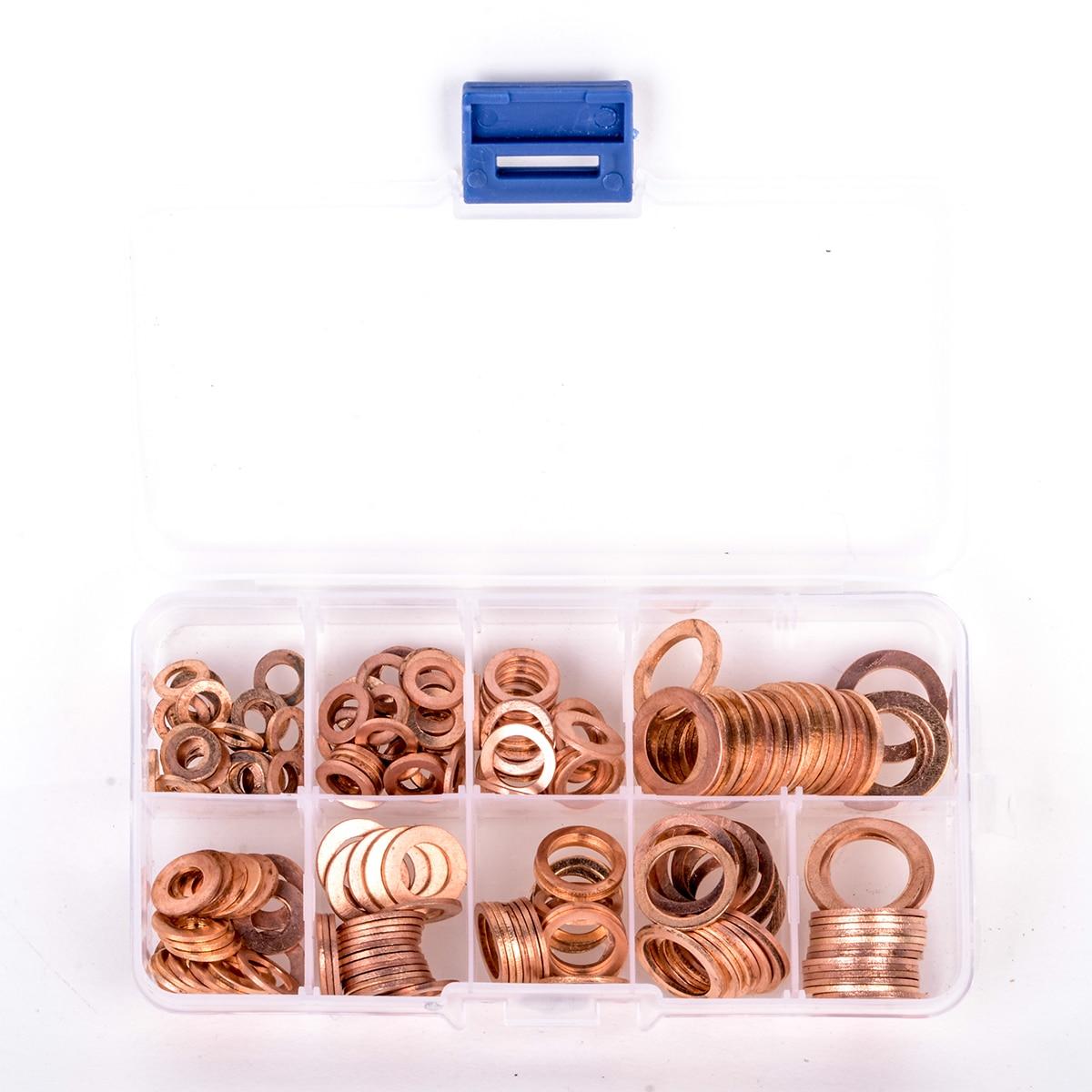 200 stücke M5-M14 Professionelle Assorted Kupfer Waschmaschine Dichtung Set Flache Ring Dichtung Sortiment Kit mit Box Für Hardware Zubehör