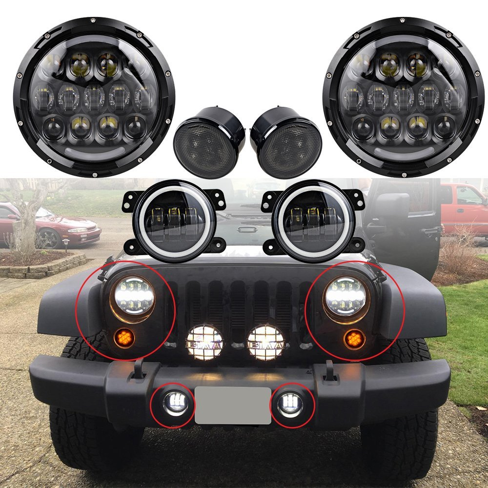 White 7 Round H4 LED Headlight 4 Fog Light w Halo Ring Front Grille Turn Signal