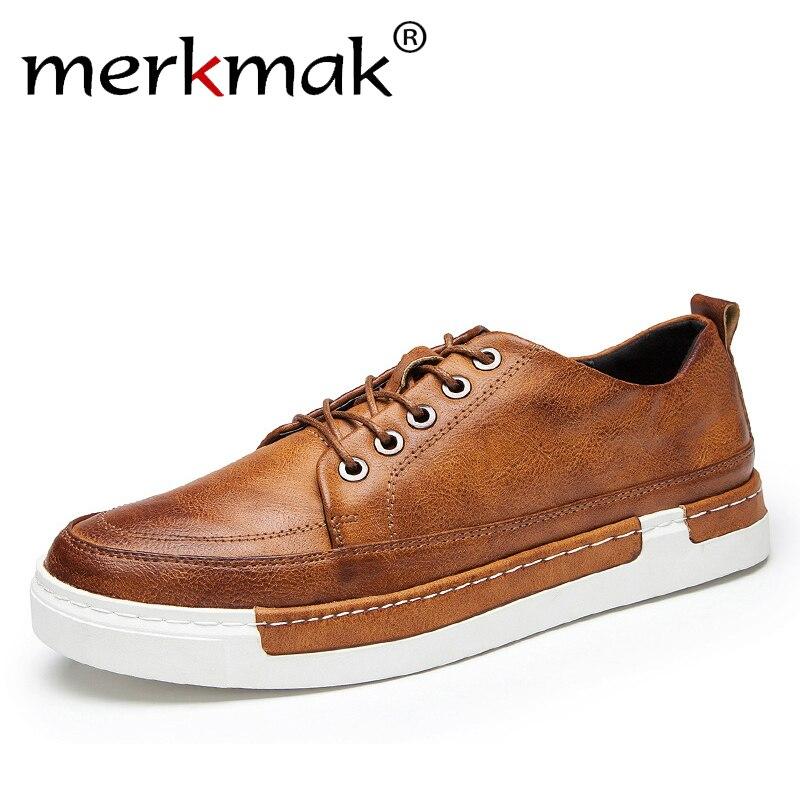 Merkmak/2018 повседневная обувь Для мужчин модные ручной работы Винтаж обувь класса люкс коричневый бренд мужской обуви из натуральной кожи Для ...