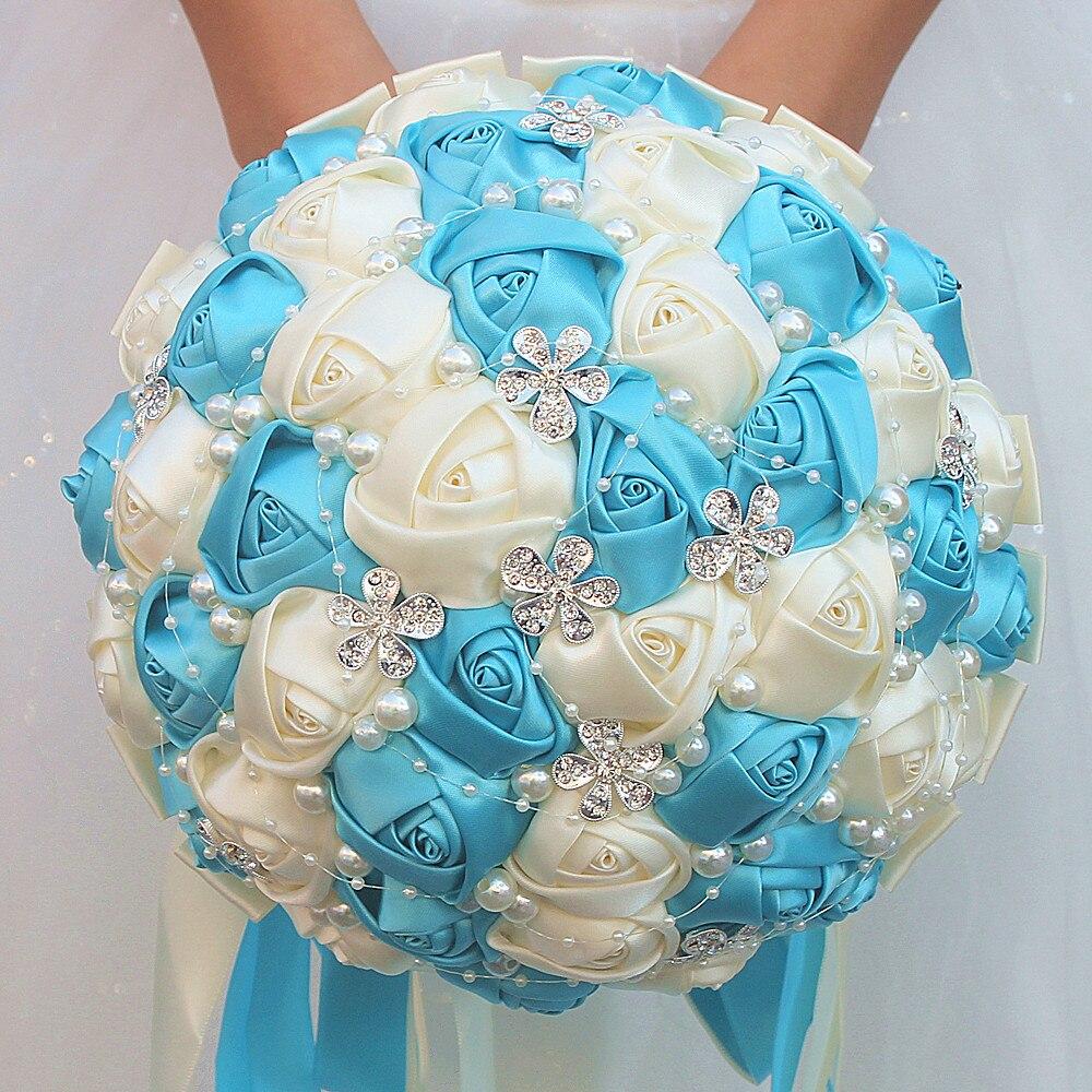 Customized Ivory Lake Blue Ribbon Flower Bouquet Bridal Bridesmaid Hand Holding Silk Diamond Jewelry Wedding Bouquet W224A-1