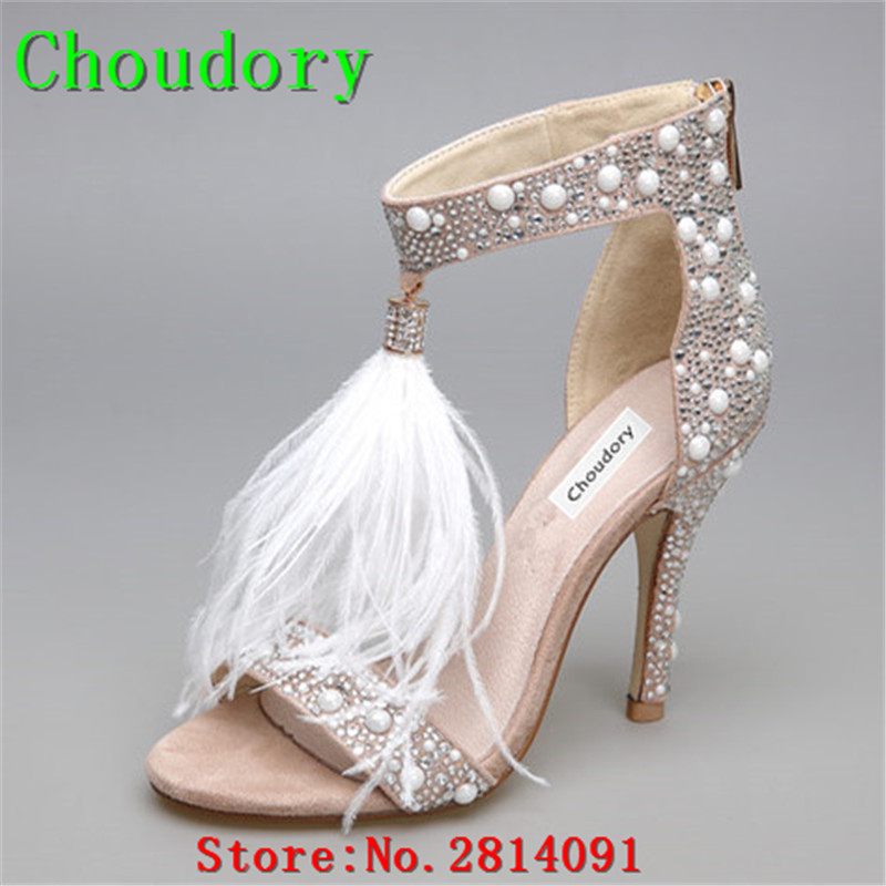 Choudory New Flock Solid Thin High Heels Zipper Feather Shoes Woman T-Strap Ankle Strap Crystal Buckle Sexy Dress Sandals Women