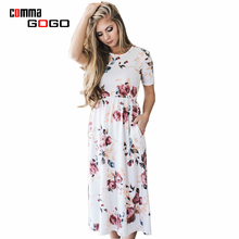 Short Sleeve White Dress Woman Floral Print Midi Dresses Casual 2017 Cute Bohemian Loose Woman Dress Long Summer Party Vestidos