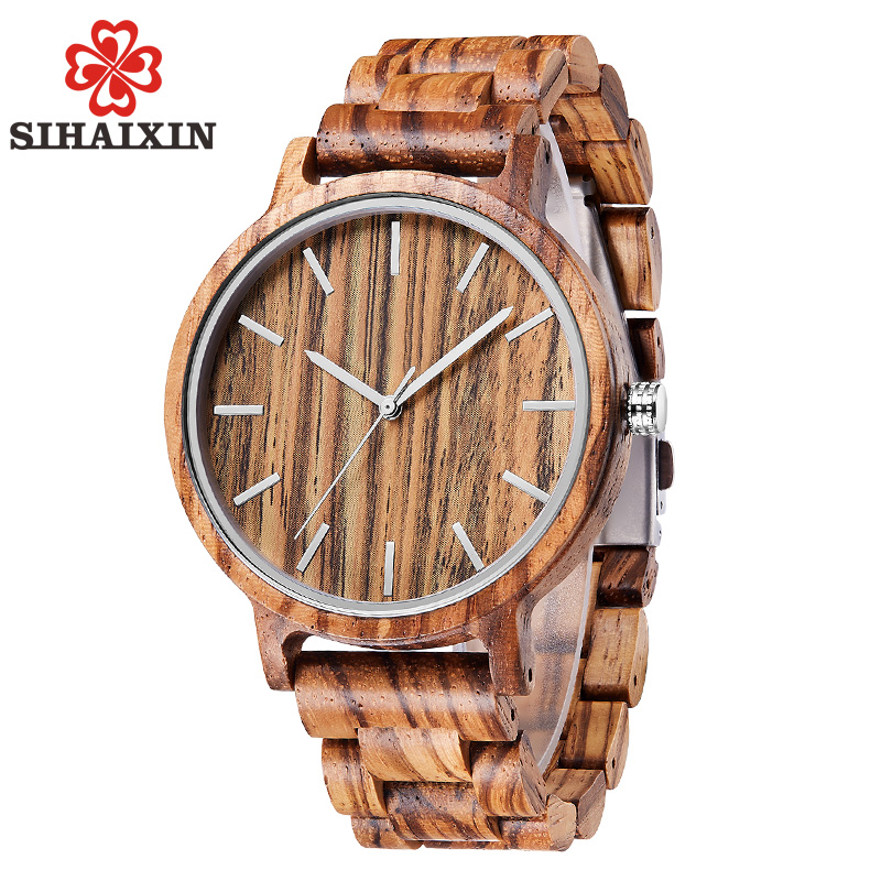 SIHAIXIN Wood Watch Clock Men All-Bamboo-Band Male Vintage Simple Quartz Sport with Relogio