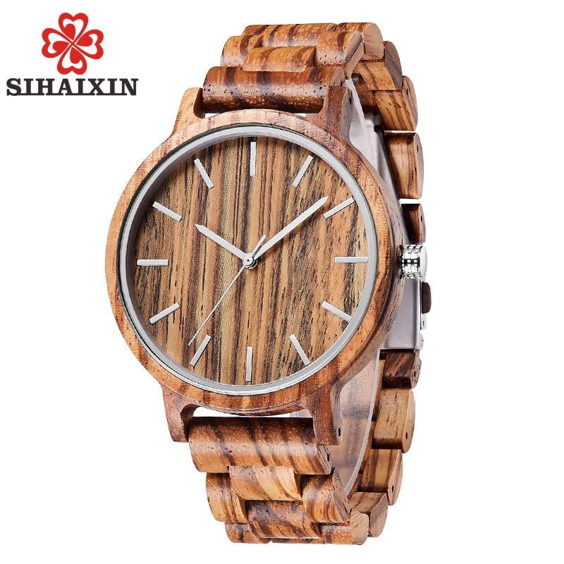 SIHAIXIN Wood Watch Clock Men All-Bamboo-Band Vintage Simple Quartz Man Male Sport Relogio