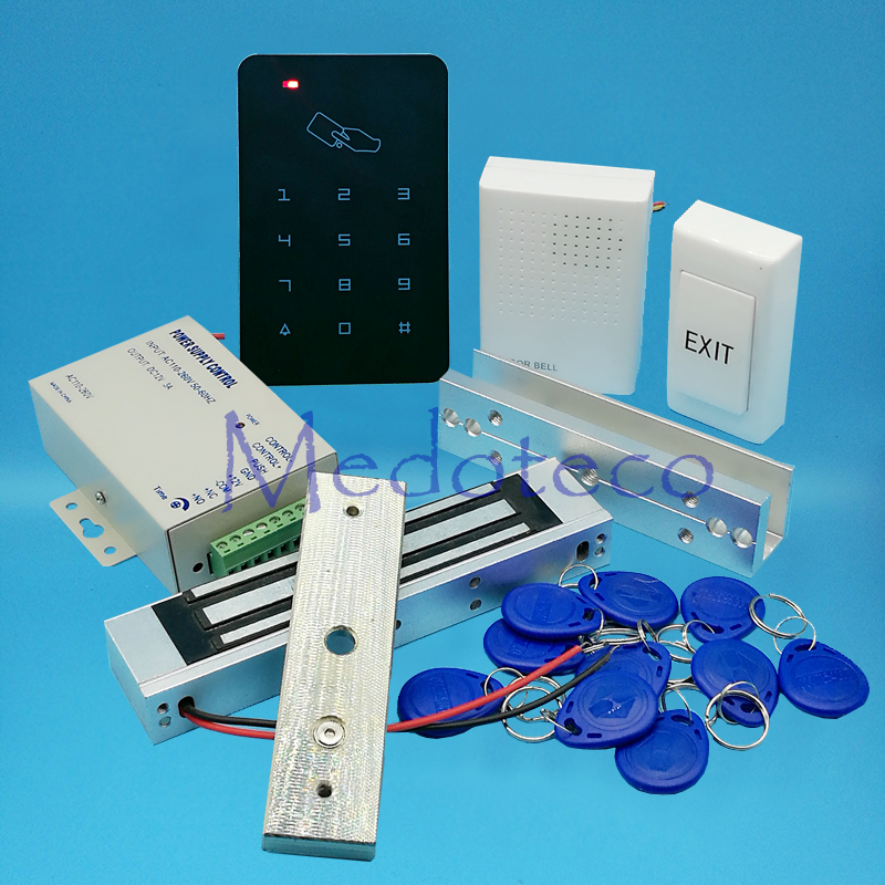 Full 125khz Rfid Card Door Access Control System Kit EM Card Access Controller +350lbs Magnetic Lock +U Bracket for Glass Door full no keypad 125khz rfid card door access control system kit em id card access controller 350lbs magnetic lock zl bracket