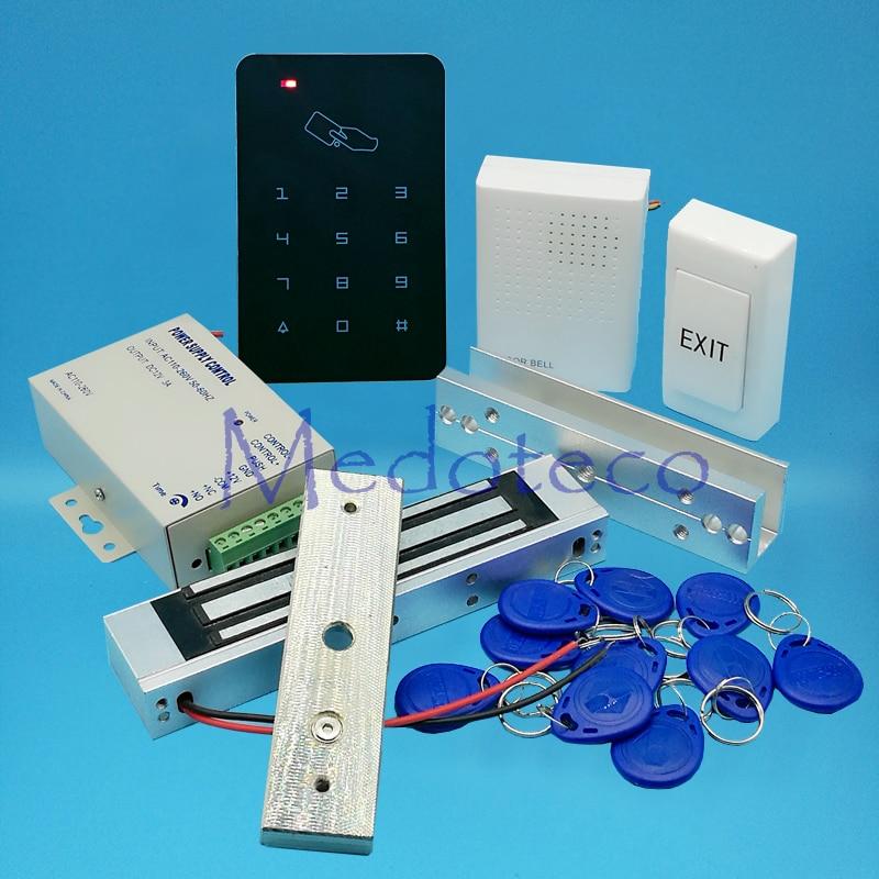 Full 125khz Rfid Card Door Access Control System Kit EM Card Access Controller +350lbs Magnetic Lock +U Bracket for Glass Door