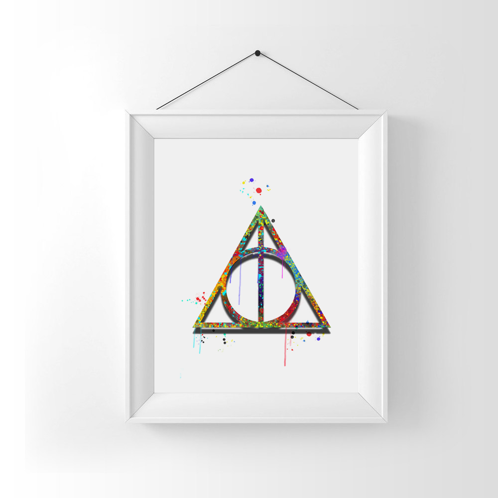 Deathly hallows art print watercolor wall hanging harry potter deathly hallows art print watercolor wall hanging harry potter watercolor deathly hallows art paper poster wall decor ap053 in painting calligraphy from biocorpaavc