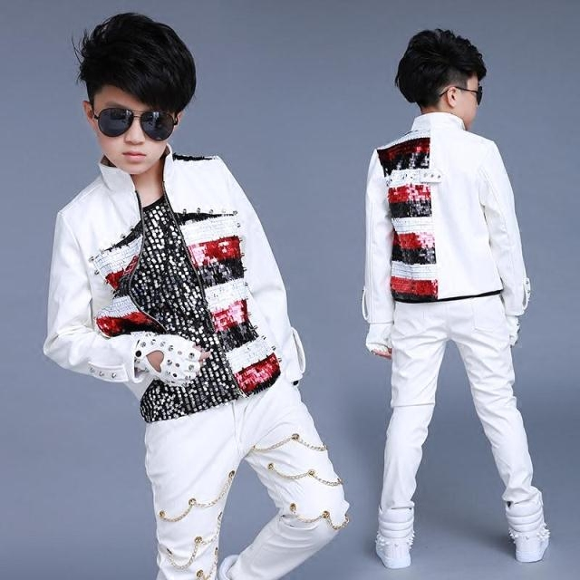 High Quality 2019 New Children's Performance Costume Sequins Long Sleeve Stage Performance Costume Drums Long Sleeve Jacket