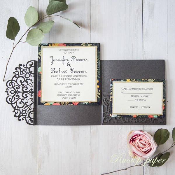 Wedding Invitation Folders With Pocket: 50pcs Free Shipping Flowers Tri Fold Customized Paper Set