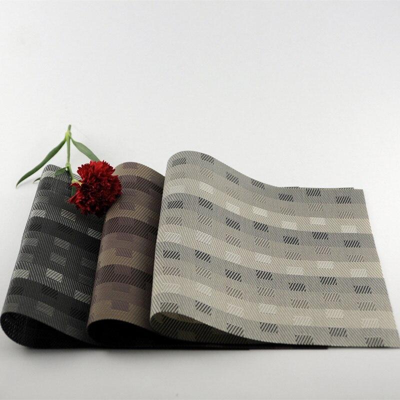 Charming Free Shipping 4 Pcs/Lot Small Square Lattice Placemat PVC Washable Cushion  Dining Table Mat