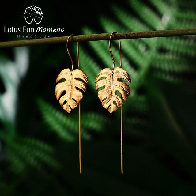 Lotus Fun Moment 925 Silver Gold Long Drop Earring drop ship Fashion Jewelry Leaves Dangle Earrings for Women dropshipping store