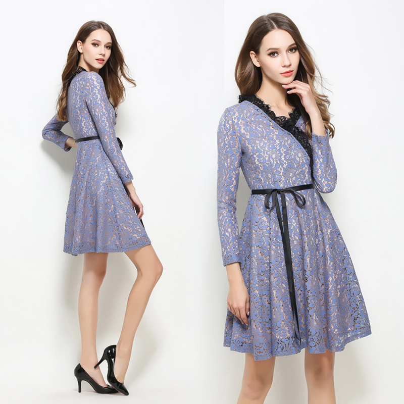 Women dress Lace Business Party Stitching Dress women vestidos mujer robe femme autumn causal dresses L7359 ...