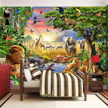 Custom Photo Mural Non-woven Wallpaper 3D Cartoon Grassland Animal Lion Zebra Children Room Bedroom Home Decor Wall Painting(China)