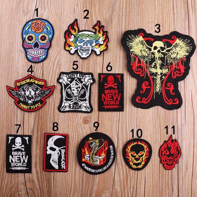Insignias de calavera bordado Cruz hierro en parche apliques de motociclista ropa DIY sombrero bolsa zapatos artesanías Rock rollo decoraciones logotipos