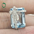 9.98ct Emerald Cut Natural Blue Topaz Solid 14k Gold Natural Diamond Brooch