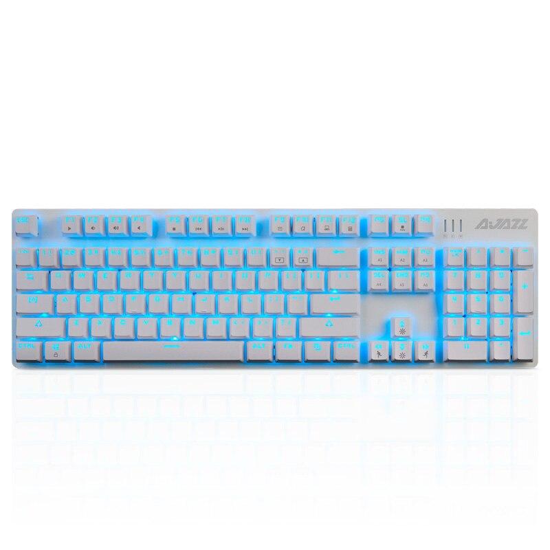 Ajazz ROBOCOP Проводная Механическая клавиатура игровая клавиатура подсветка анти-ореолы n-ключ опрокидывание коричневый/черный/красный/синий переключатели - Цвет: white-2