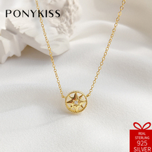 PONYKISS Casual 100% 925 Solid Sterling Compass Octagonal Star Pendant Necklace Chain Gift Lady Fine Jewelry Birthday Party
