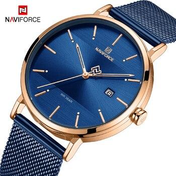 Reloj para hombre de marca NAVIFORCE de lujo, de acero inoxidable, resistente al agua, relojes de cuarzo para hombre, reloj de pulsera de moda, reloj Masculino