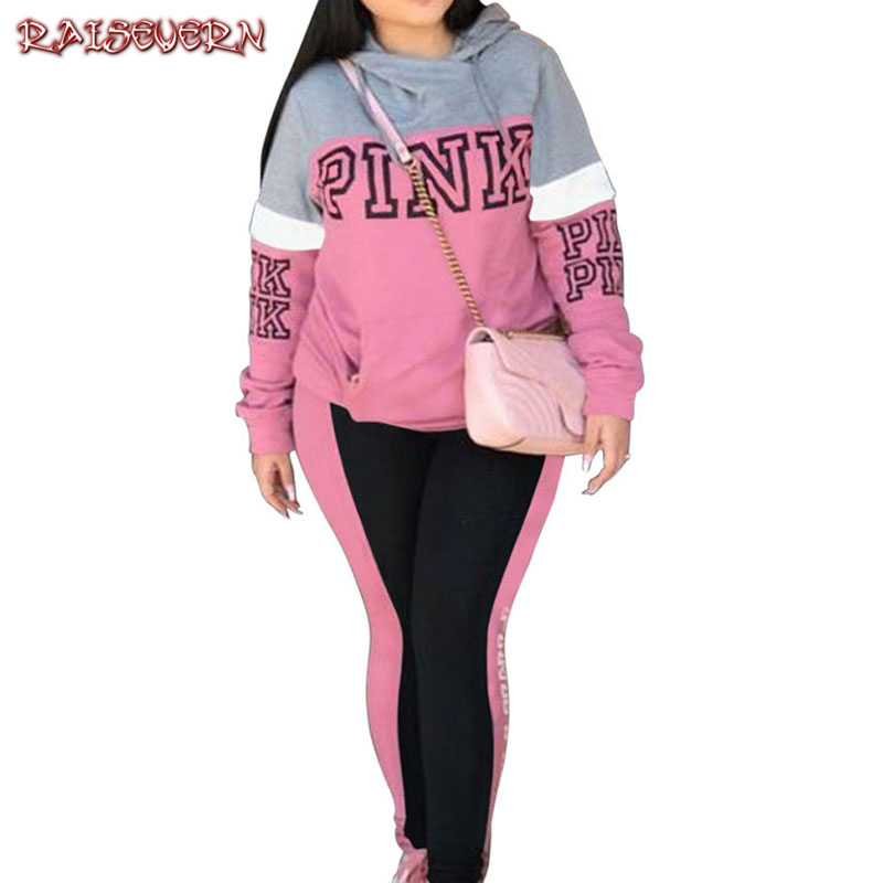 RAISEVERN Pink Letters Print Tracksuit Women Plus Size Sweatsuit Hoodies Tops And Pants Suits Casual 2pcs Outfits Two Piece Set