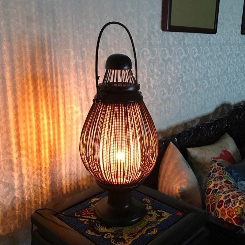 Юго-Восточной Азии стиль Бамбук прикроватная ретро теплые спальня исследование личности настольная лампа LO8919