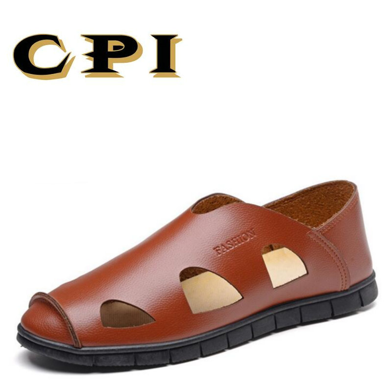 CPI Cow Split Leather Men Sandals waterproof Summer Flats Shoes Korean Version Daily Breathable Feet Lazy Casual Sandals VV-47